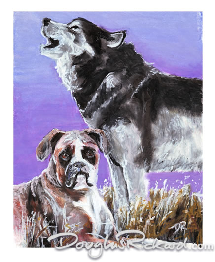 Boxer Dog and Wolf