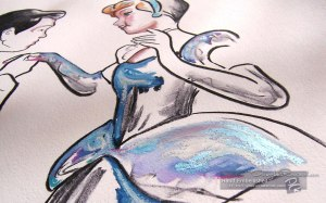 Hand Embellished Charcoal and Oil - Cinderella Characters 1 By Douglas Rickard
