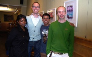 Douglas Rickard and friends at his summer 2012 art exhibition in Chorak, East Finchley, London.