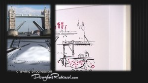 Douglas Rickard drew a minimalist Tower Bridge for his Queen's Jubilee art.