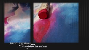 Rose red diamond shapes nestled in clouds of royal blue.