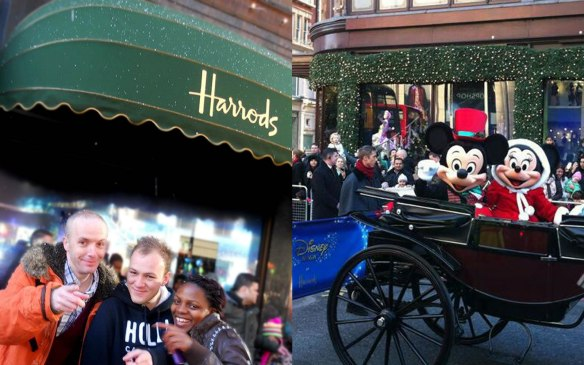 Douglas Rickard with friends at the Harrods Disney Christmas Parade 2012