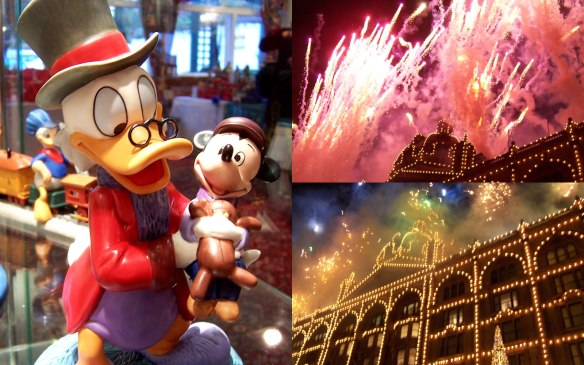 Walt Disney Classics Collection Scrooge McDuck sculpture and Christmas lights switch on at Harrods, London