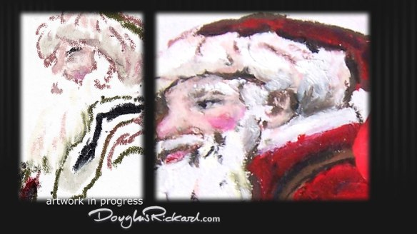 Oil pastel drawing of Father Christmas