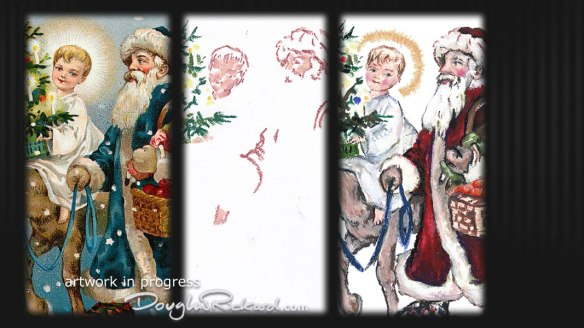 Vintage Christmas illustrations re-drawn in oil pastel