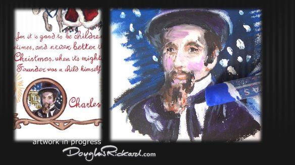 Oil pastel portrait of Charles Dickens