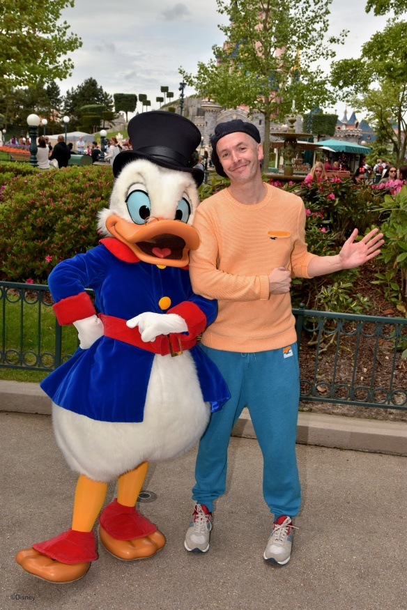Uncle Scrooge with Douglas Rickard at Plaza Gardens Restaurant, Disneyland Paris