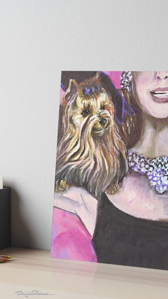 Audrey Hepburn Yorkshire Terrier Art Gallery Board