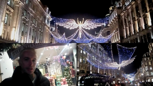 Douglas Rickard recording 2016 Christmas Vlog in Regent Street London