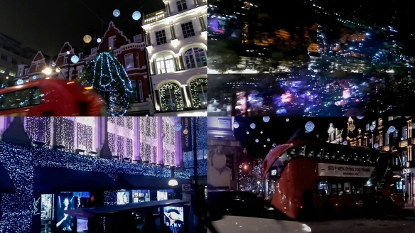 Riding London buses and the Christmas lights