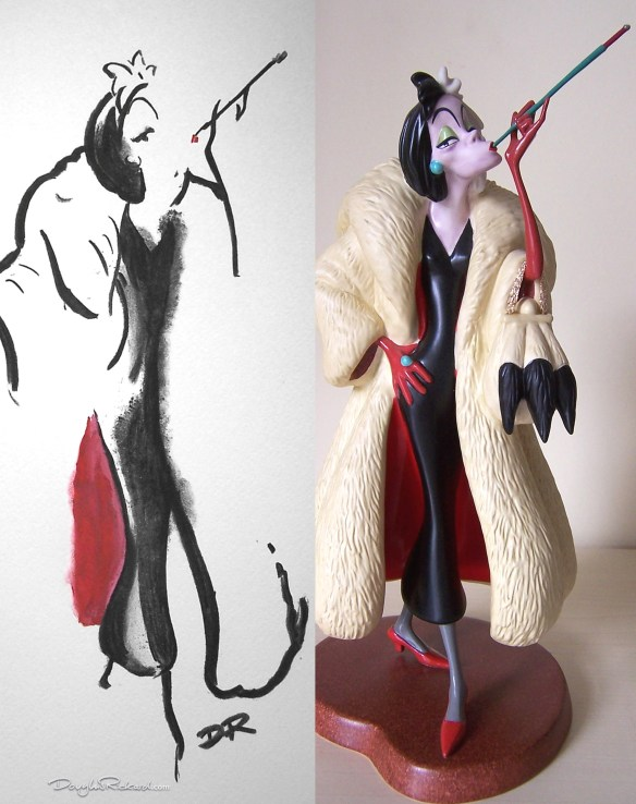 Drawing by Douglas Rickard of WDCC Cruella sculpted by Kent Melton