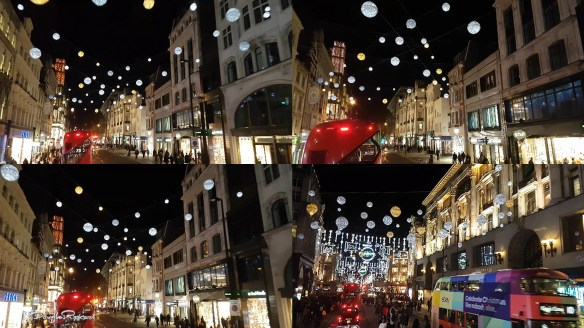 2017 Christmas lights from a London double decker bus
